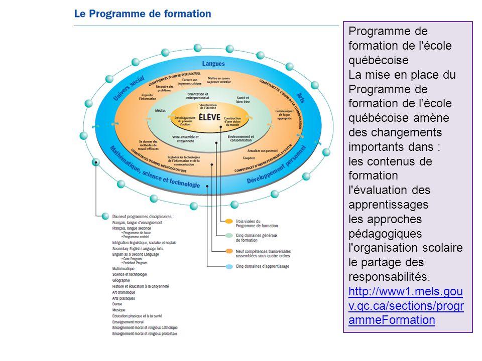 Programme de formation de l école québécoise