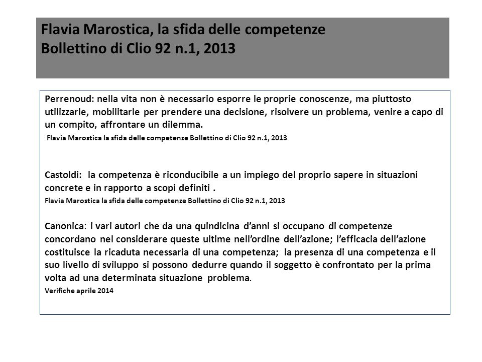 Flavia Marostica, la sfida delle competenze Bollettino di Clio 92 n