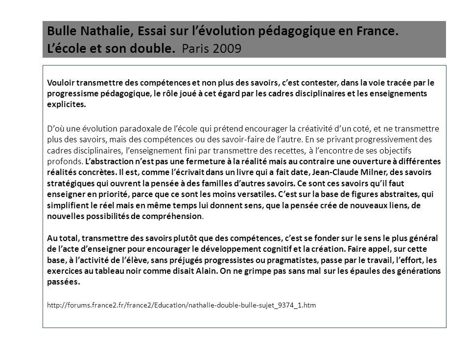 Bulle Nathalie, Essai sur l'évolution pédagogique en France