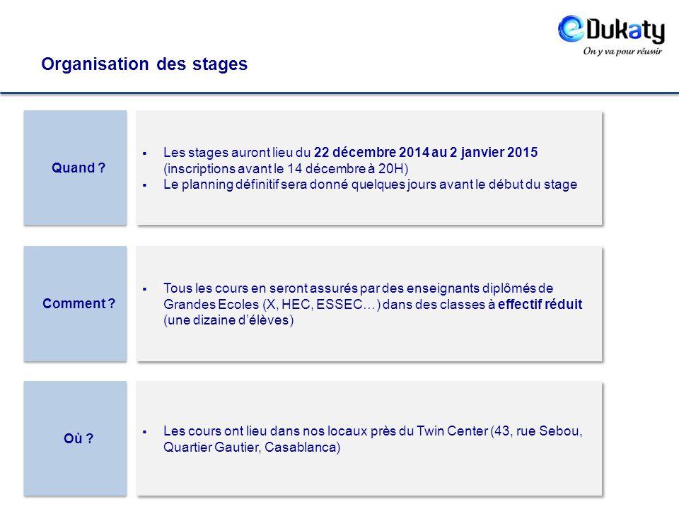 Organisation des stages