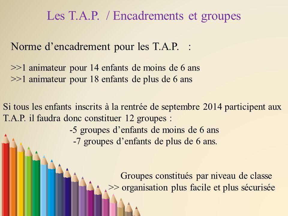 Les T.A.P. / Encadrements et groupes