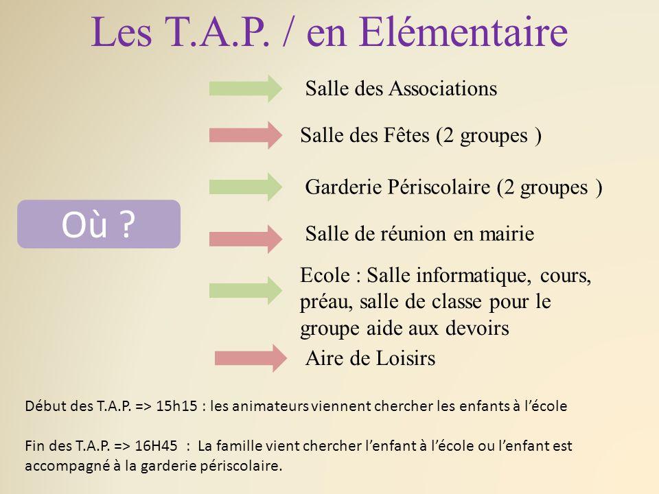 Les T.A.P. / en Elémentaire