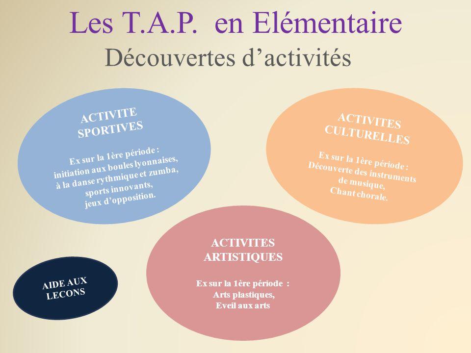 Les T.A.P. en Elémentaire Découvertes d'activités ACTIVITE SPORTIVES