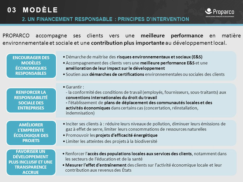 03 MODÈLE 2. Un financement responsable : PRINCIPES d'intervention.
