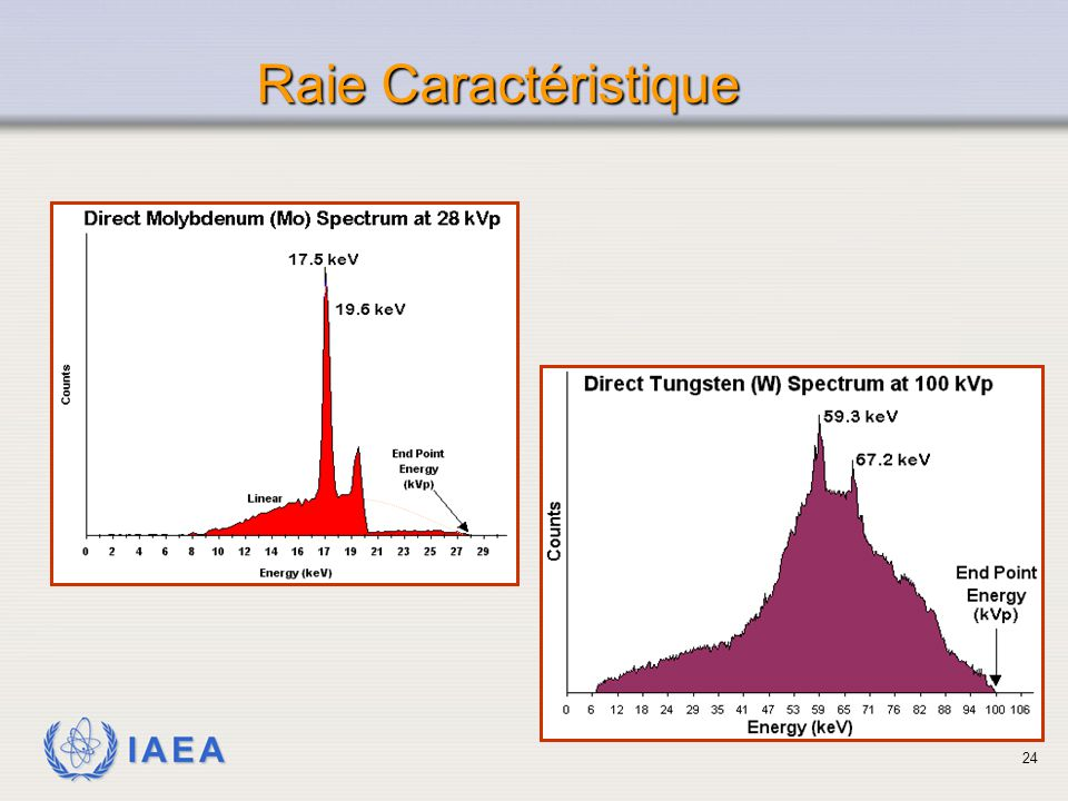 Raie Caractéristique When characteristic x-rays are produced along with Bremsstrahlung x-rays, the spectrum appears to be a combination of the two.