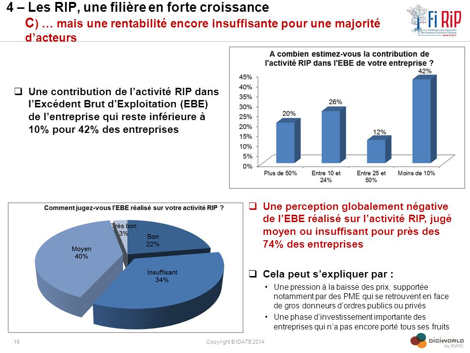 4 – Les RIP, une filière en forte croissance C) … mais une rentabilité encore insuffisante pour une majorité d'acteurs