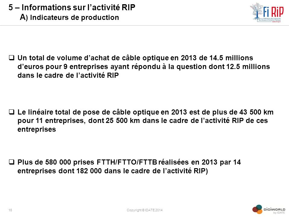 5 – Informations sur l'activité RIP A) Indicateurs de production