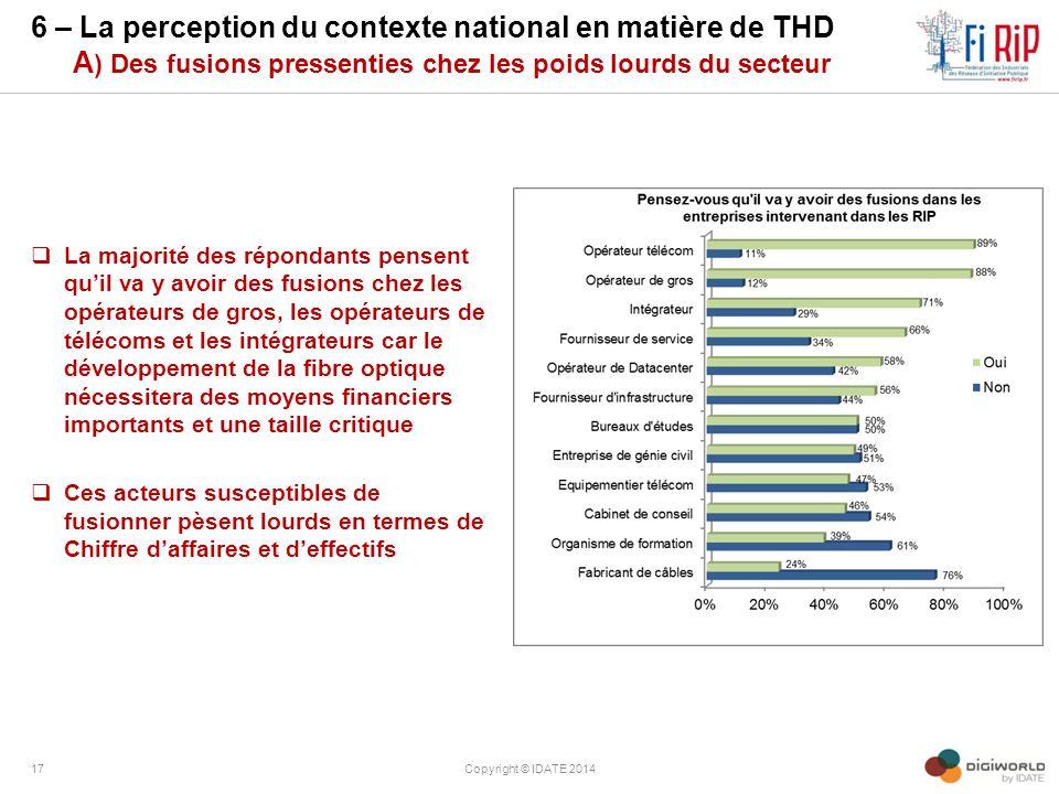 6 – La perception du contexte national en matière de THD A) Des fusions pressenties chez les poids lourds du secteur
