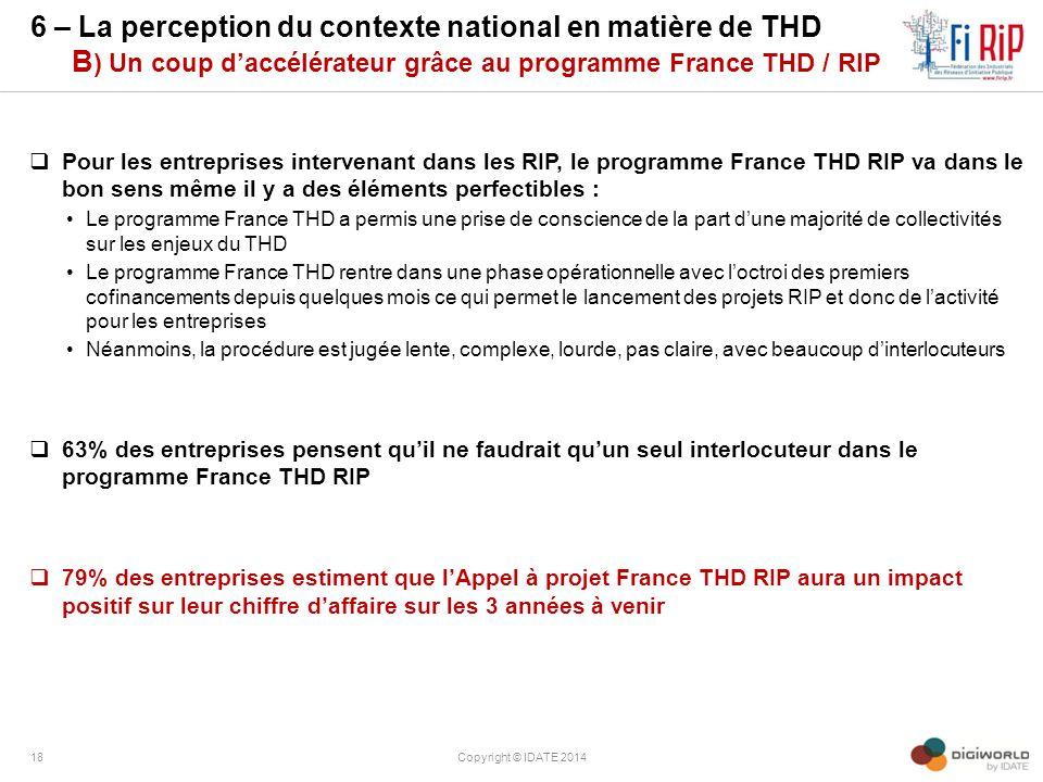 6 – La perception du contexte national en matière de THD B) Un coup d'accélérateur grâce au programme France THD / RIP