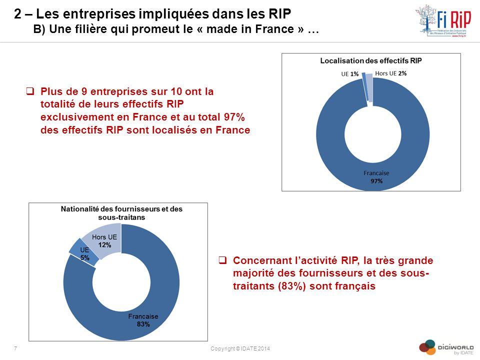 2 – Les entreprises impliquées dans les RIP B) Une filière qui promeut le « made in France » …