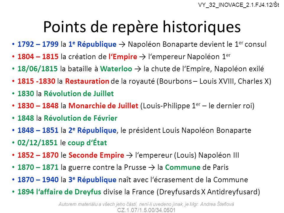 Points de repère historiques