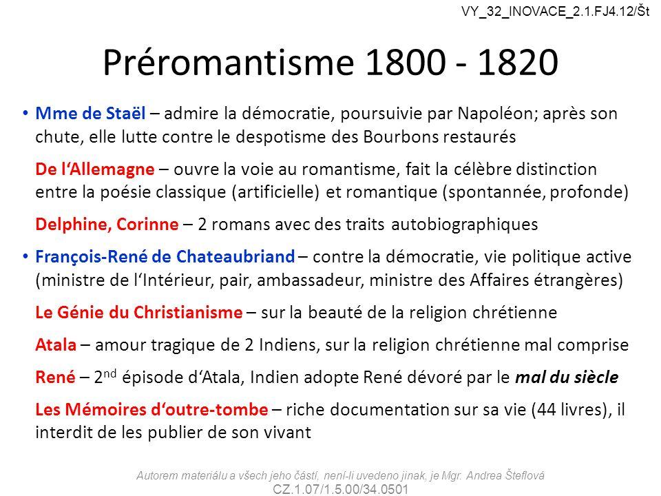 VY_32_INOVACE_2.1.FJ4.12/Št Préromantisme 1800 - 1820.