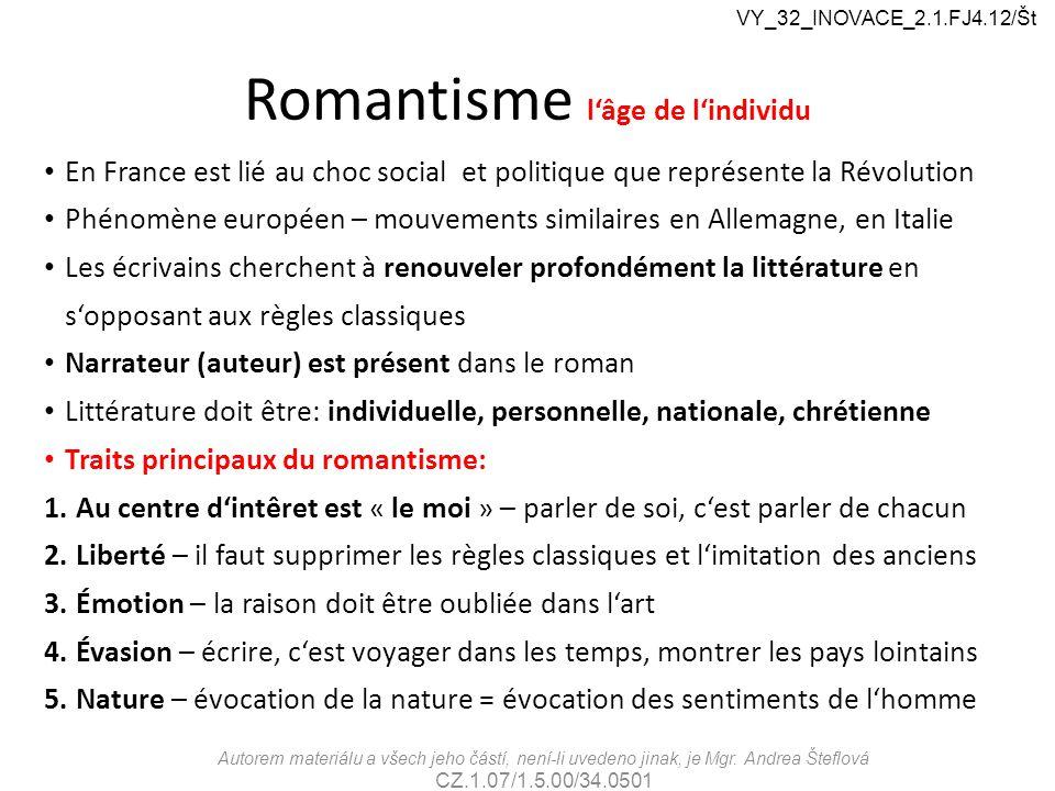 Romantisme l'âge de l'individu