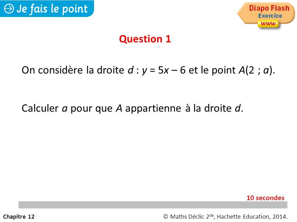 On considère la droite d : y = 5x – 6 et le point A(2 ; a).