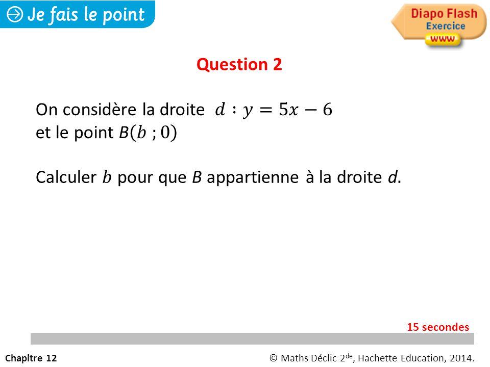On considère la droite 𝑑 :𝑦=5𝑥−6 et le point B 𝑏 ;0