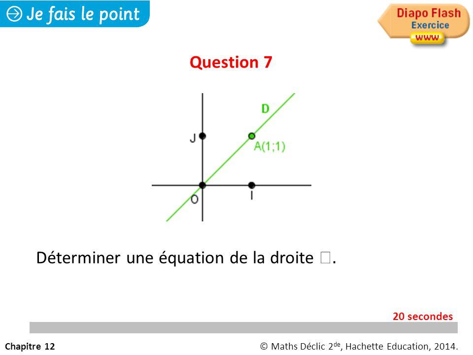 Déterminer une équation de la droite .