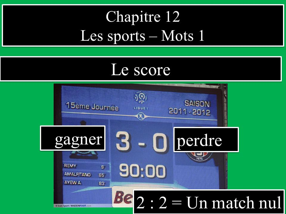 Le score gagner perdre 2 : 2 = Un match nul Chapitre 12