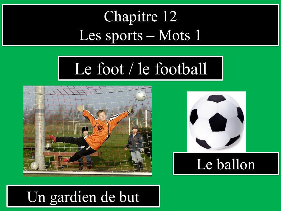 Le foot / le football Chapitre 12 Les sports – Mots 1 Le ballon