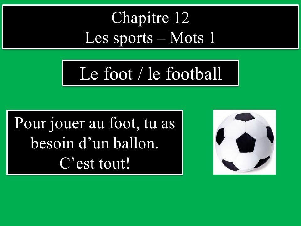 Pour jouer au foot, tu as besoin d'un ballon. C'est tout!