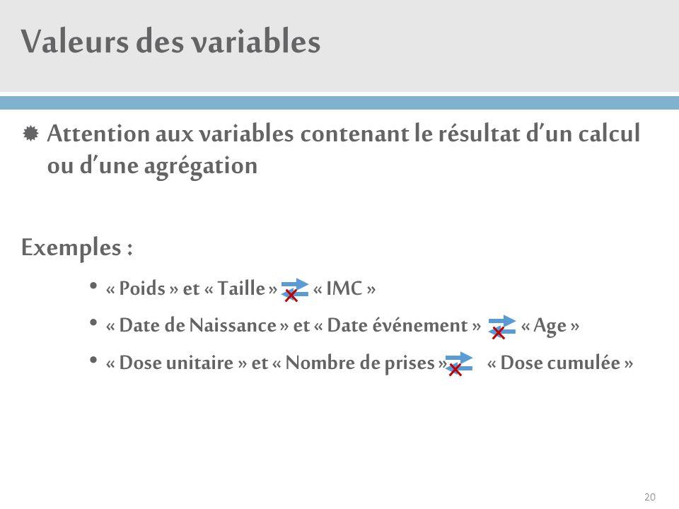Valeurs des variables Attention aux variables contenant le résultat d'un calcul ou d'une agrégation.