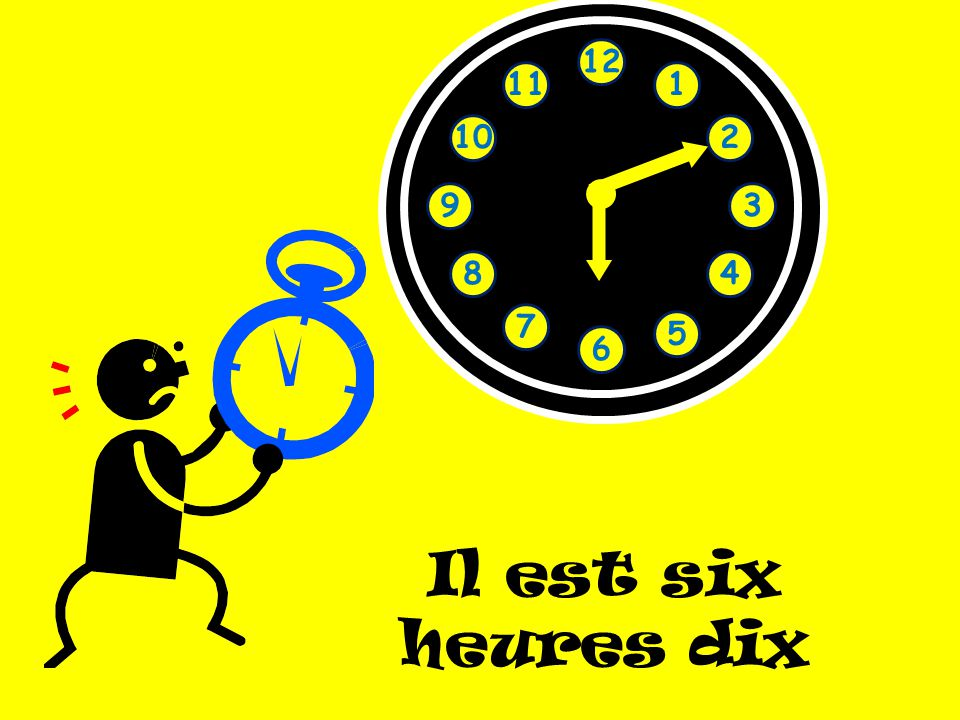 12 11 1 10 2 9 3 8 4 7 5 6 Il est six heures dix