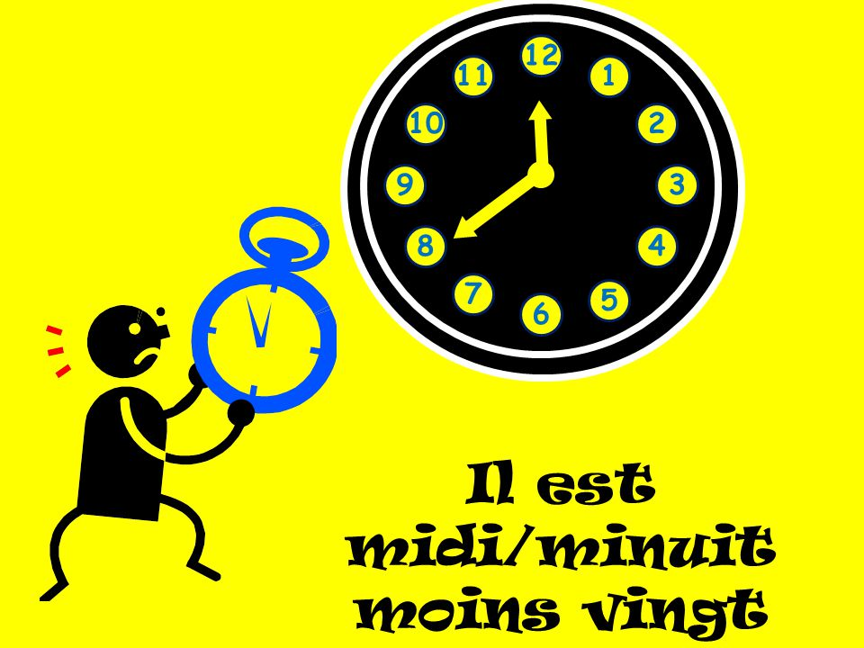 Il est midi/minuit moins vingt