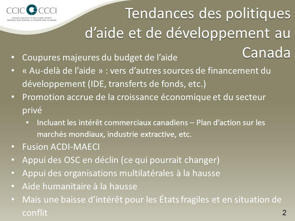 Tendances des politiques d'aide et de développement au Canada