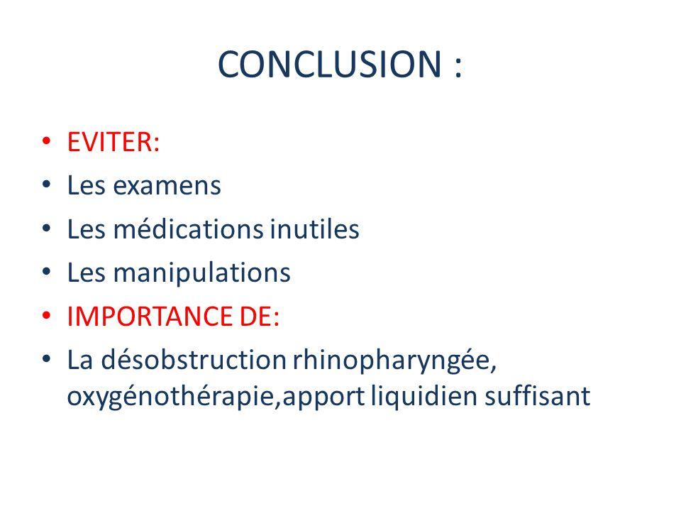 CONCLUSION : EVITER: Les examens Les médications inutiles