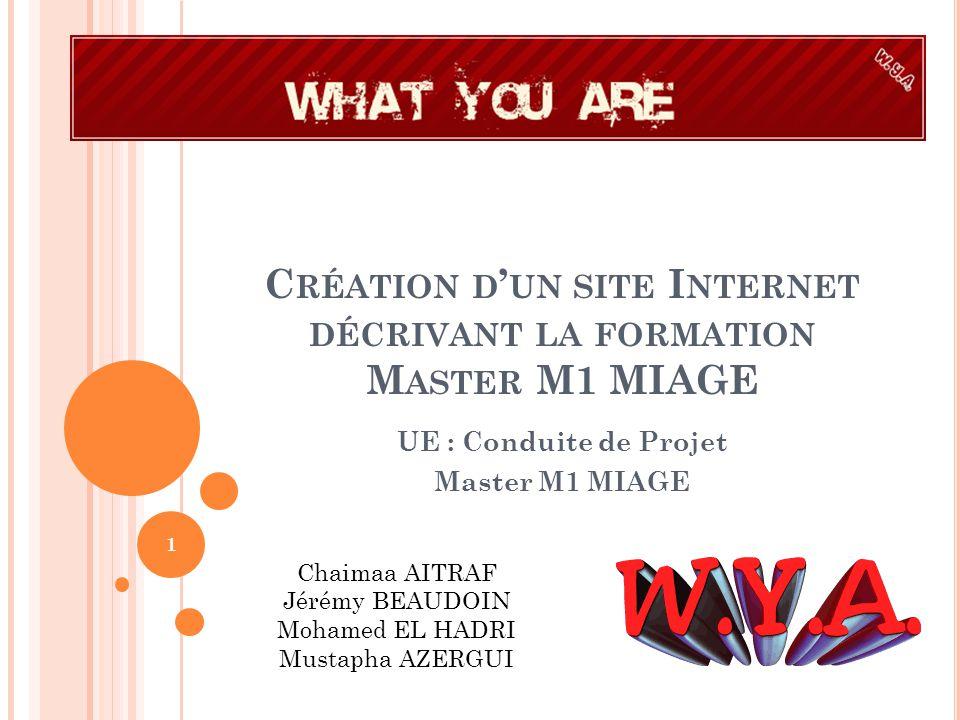 Création d'un site Internet décrivant la formation Master M1 MIAGE