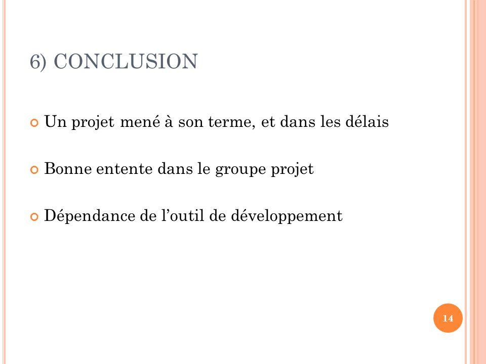 6) CONCLUSION Un projet mené à son terme, et dans les délais