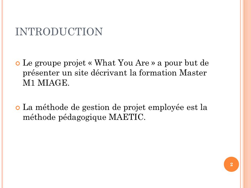 INTRODUCTION Le groupe projet « What You Are » a pour but de présenter un site décrivant la formation Master M1 MIAGE.