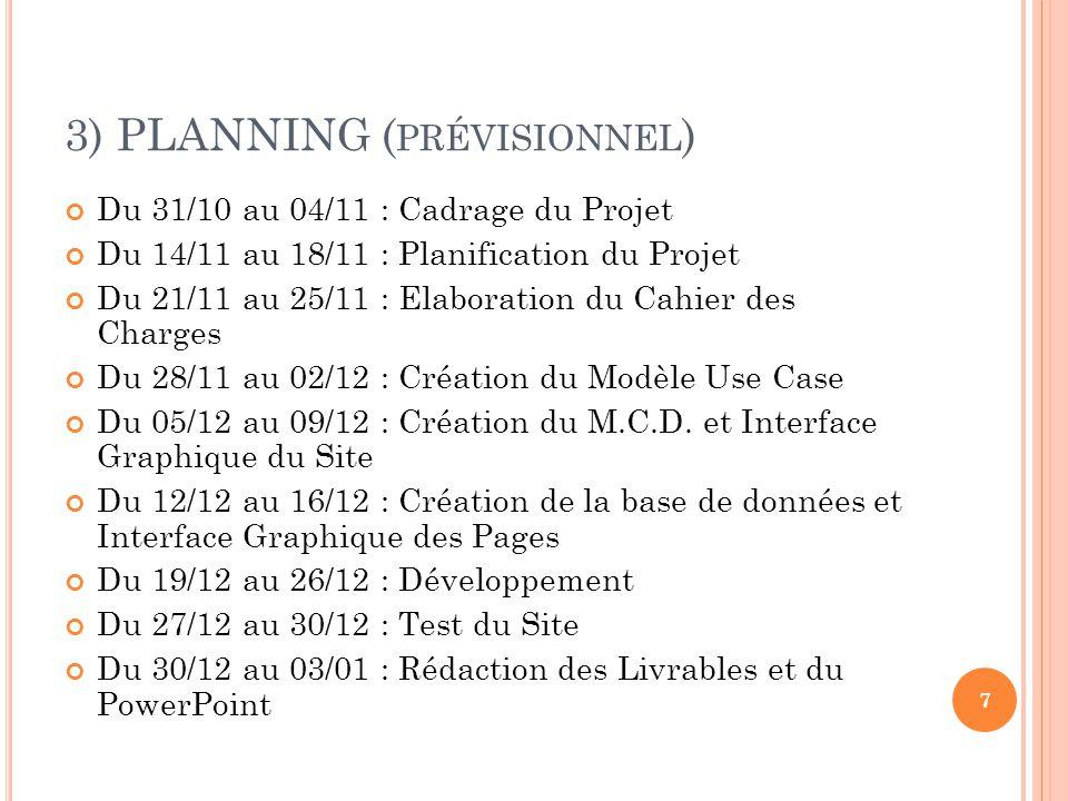3) PLANNING (prévisionnel)