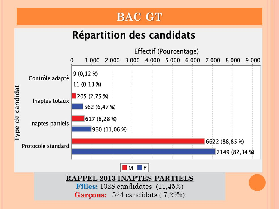BAC GT RAPPEL 2013 INAPTES PARTIELS Filles: 1028 candidates (11,45%)
