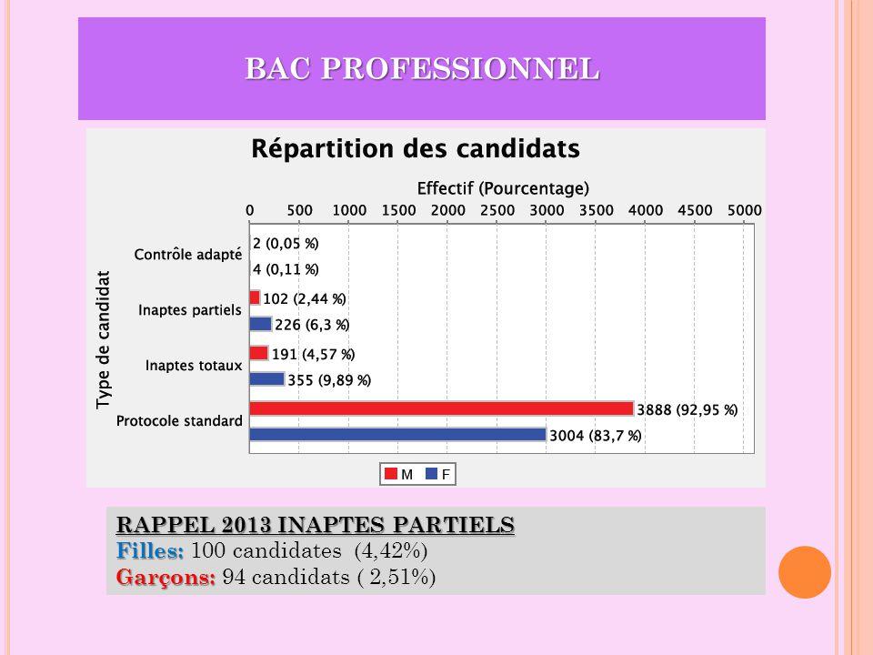 BAC PROFESSIONNEL RAPPEL 2013 INAPTES PARTIELS