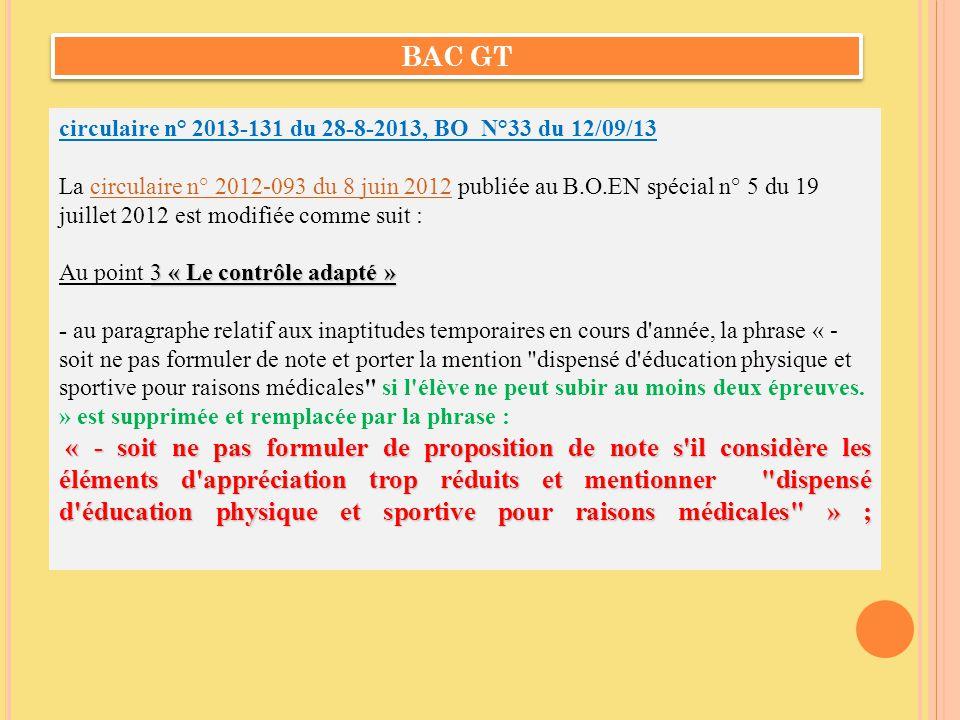 BAC GT circulaire n° 2013-131 du 28-8-2013, BO N°33 du 12/09/13