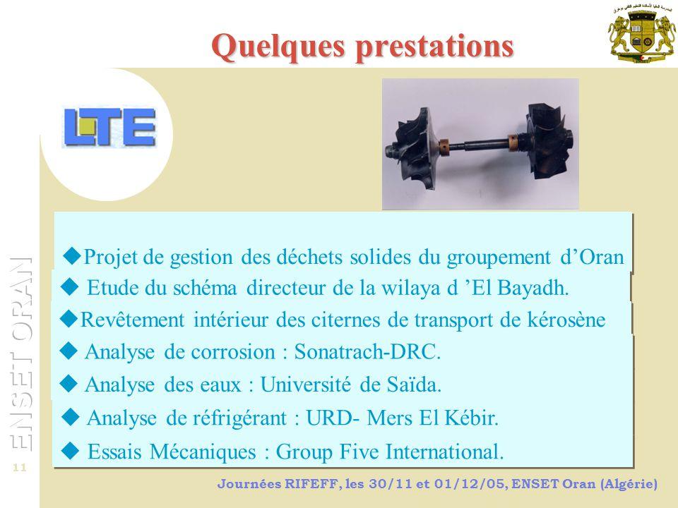 Quelques prestations Projet de gestion des déchets solides du groupement d'Oran. Etude du schéma directeur de la wilaya d 'El Bayadh.