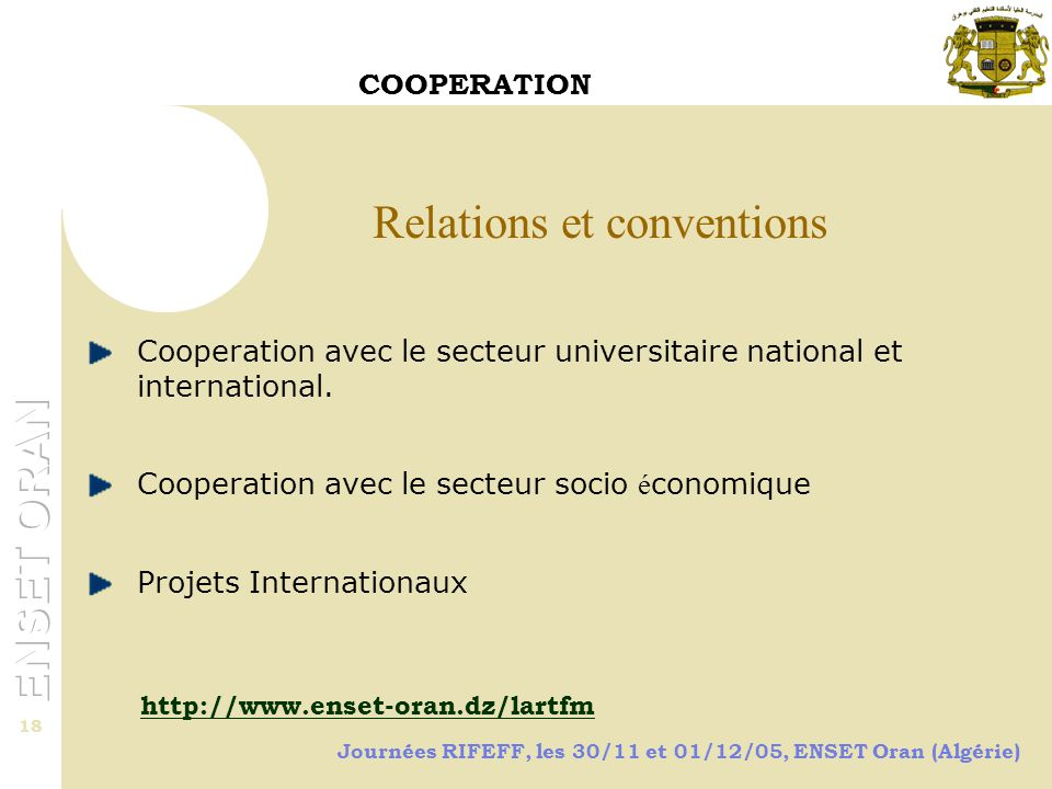 Relations et conventions