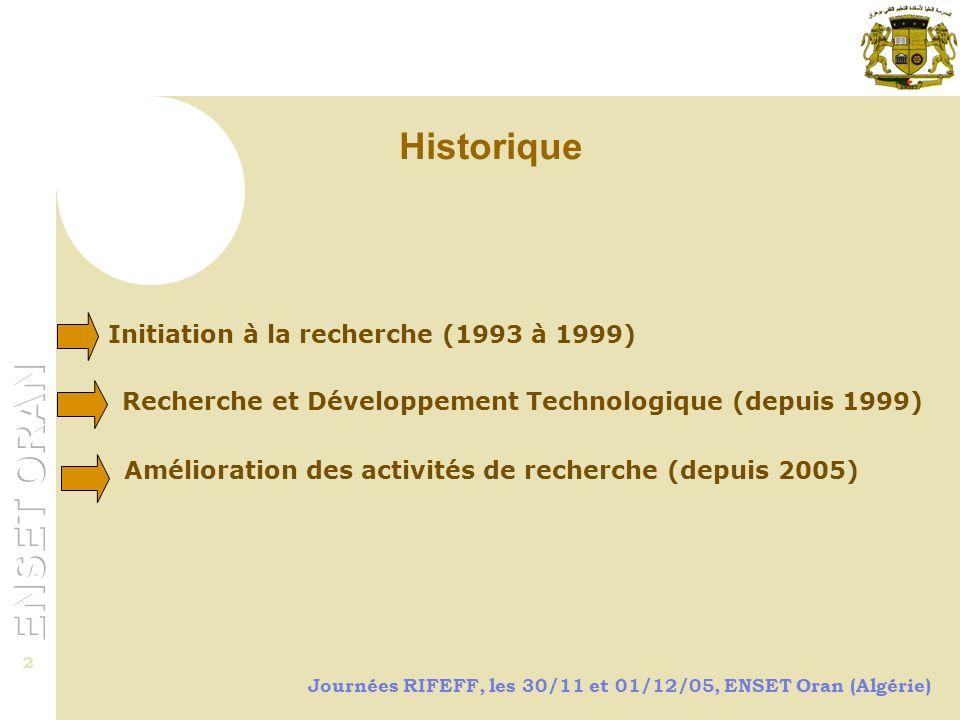Historique Initiation à la recherche (1993 à 1999)
