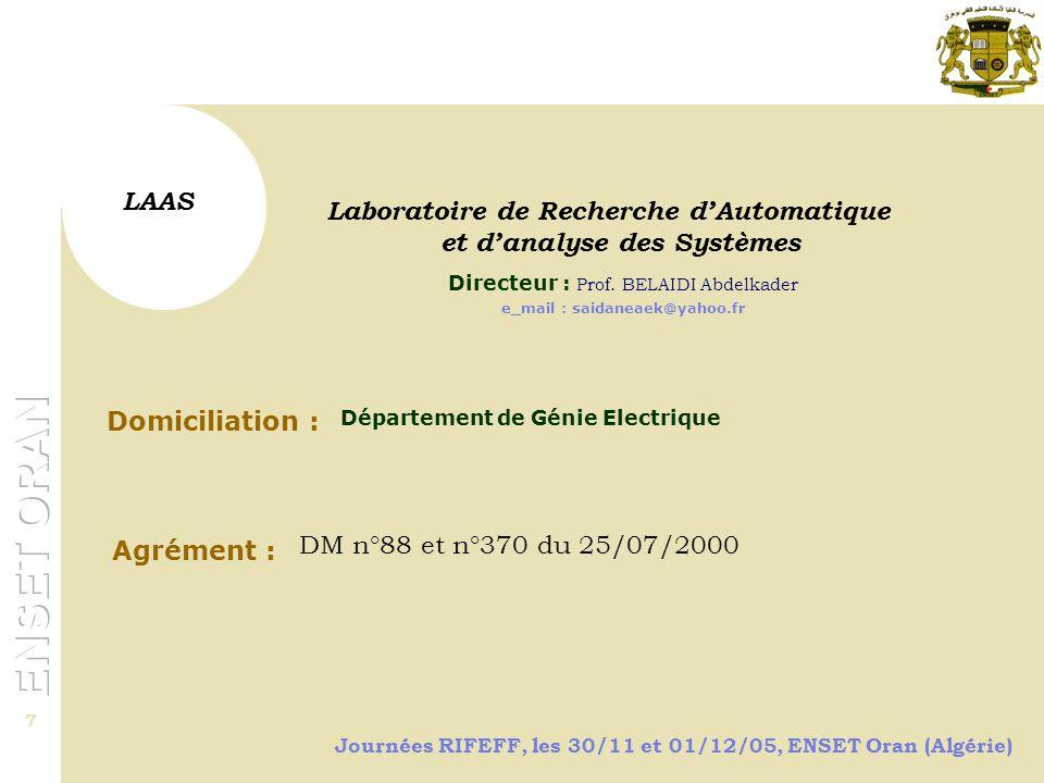 et d'analyse des Systèmes e_mail : saidaneaek@yahoo.fr