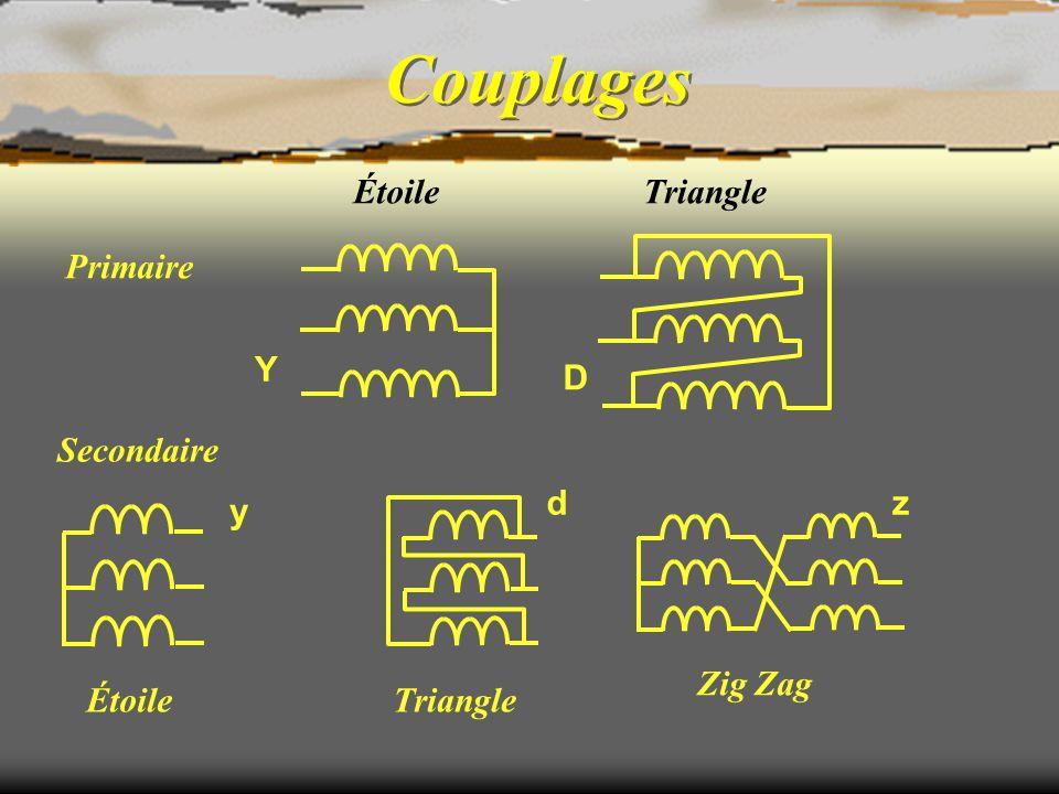Couplages Étoile Triangle Primaire D Y Secondaire d z y Zig Zag Étoile