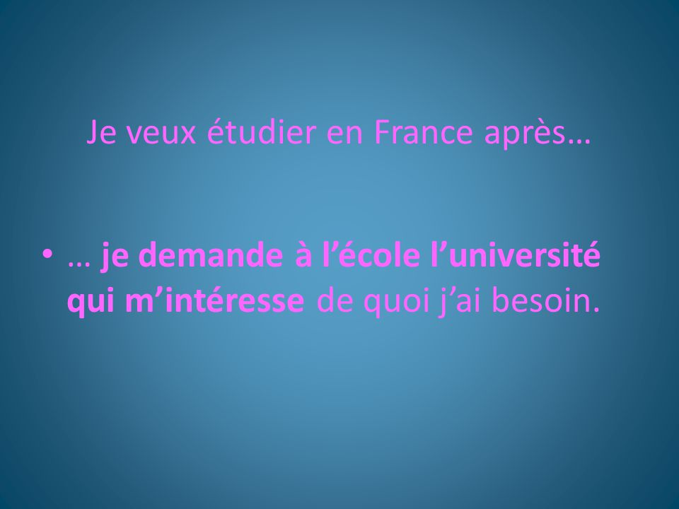 Je veux étudier en France après…