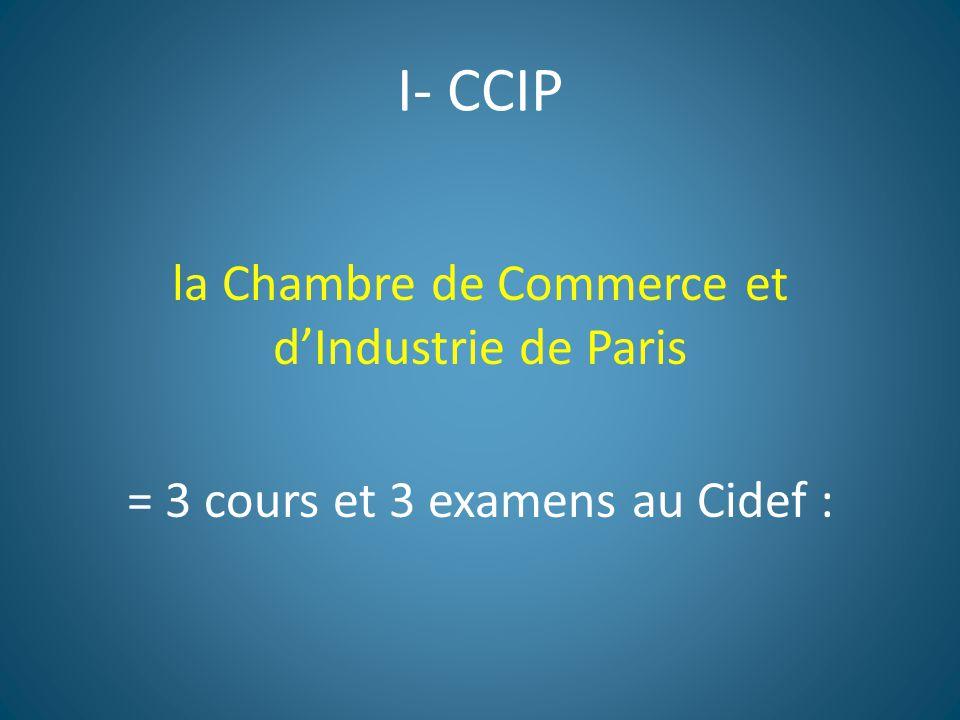I- CCIP la Chambre de Commerce et d'Industrie de Paris