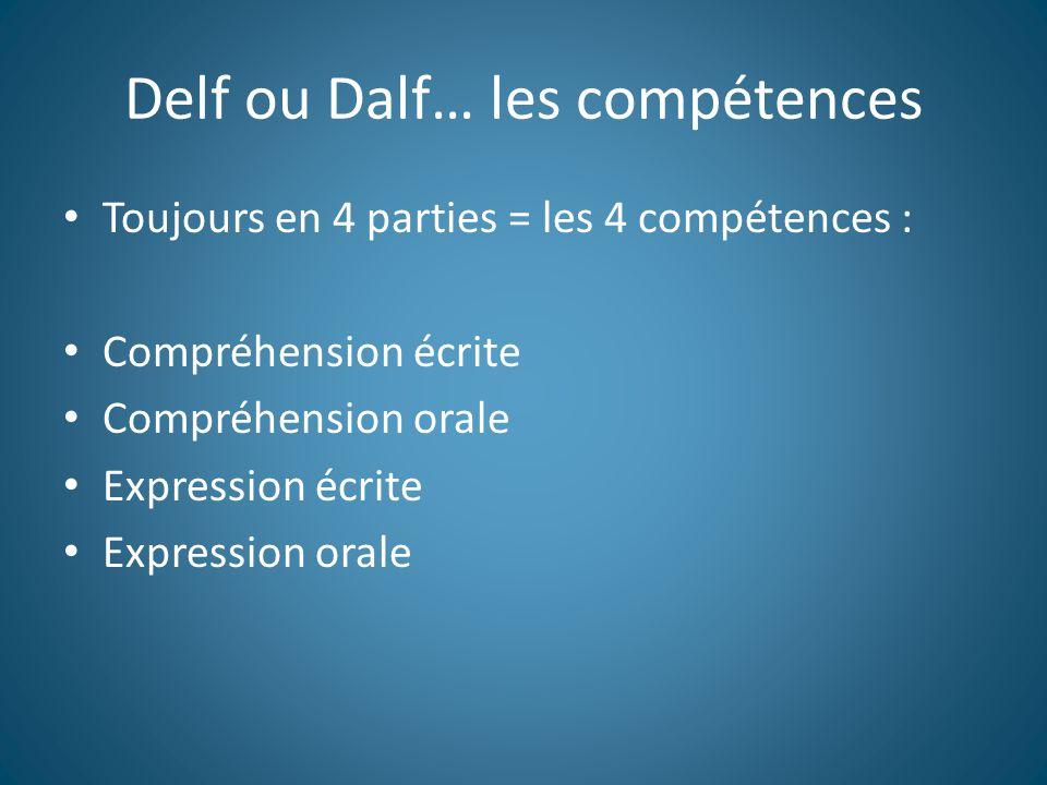 Delf ou Dalf… les compétences