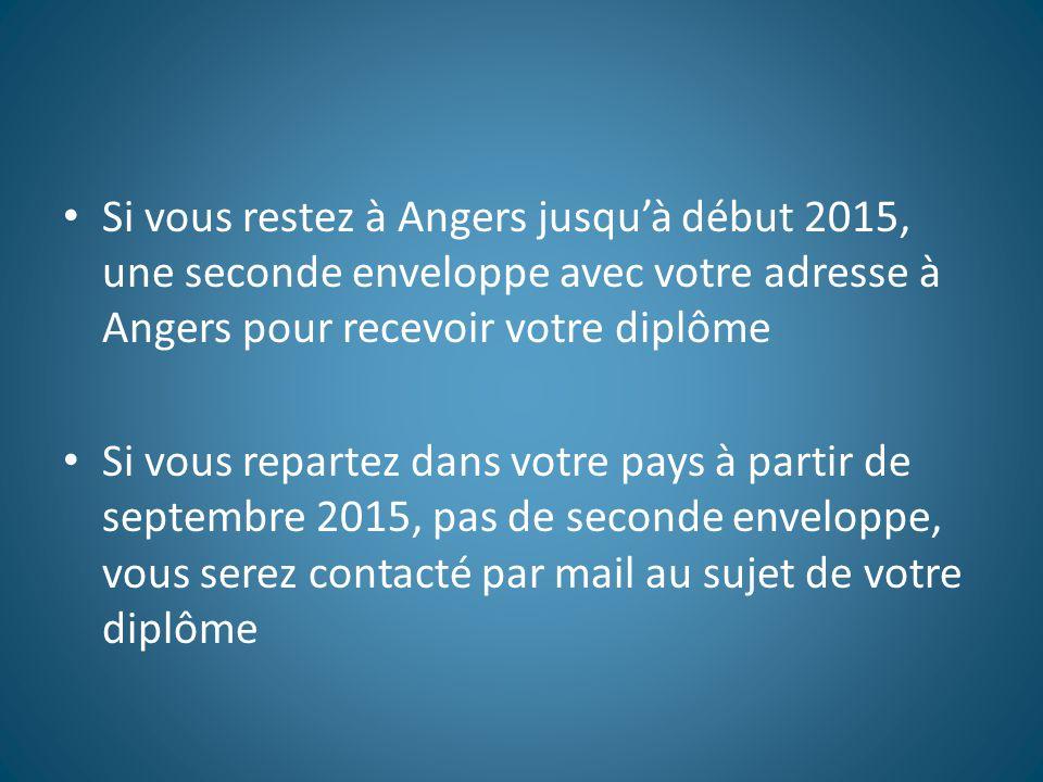 Si vous restez à Angers jusqu'à début 2015, une seconde enveloppe avec votre adresse à Angers pour recevoir votre diplôme