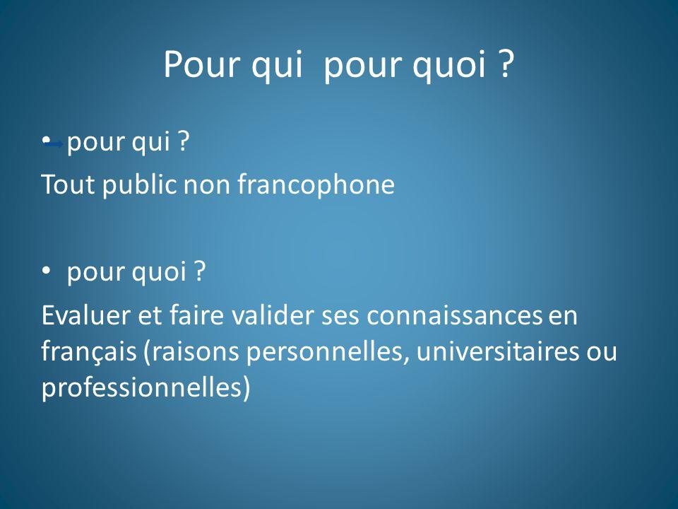 Pour qui pour quoi pour qui Tout public non francophone