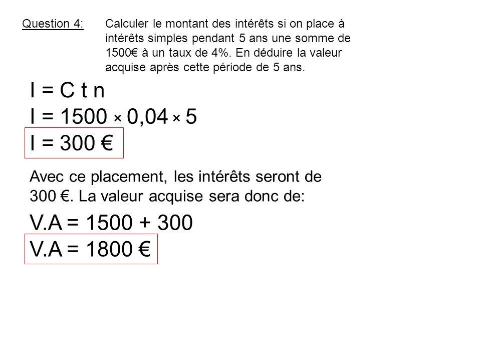 I = C t n I = 1500 × 0,04 × 5 I = 300 € V.A = 1500 + 300 V.A = 1800 €