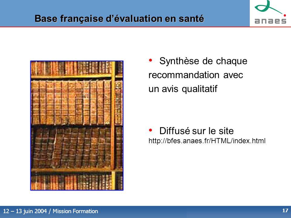 Base française d'évaluation en santé