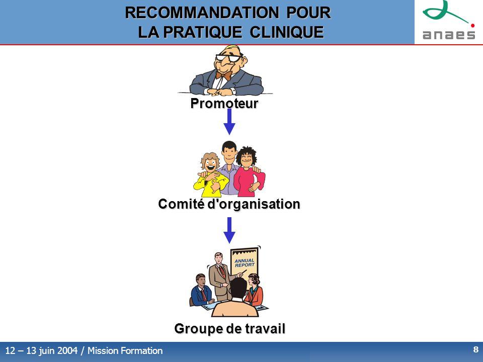 RECOMMANDATION POUR LA PRATIQUE CLINIQUE