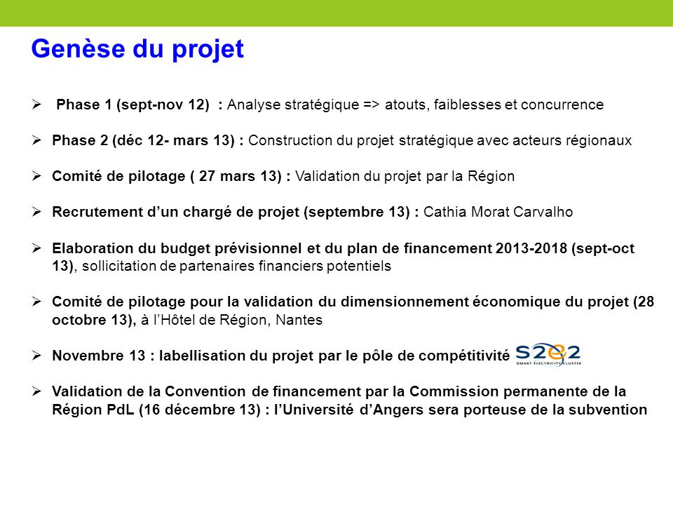 Genèse du projet Phase 1 (sept-nov 12) : Analyse stratégique => atouts, faiblesses et concurrence.