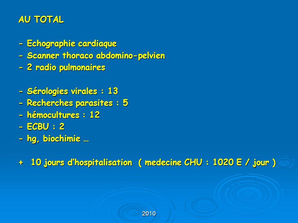 - Echographie cardiaque - Scanner thoraco abdomino-pelvien
